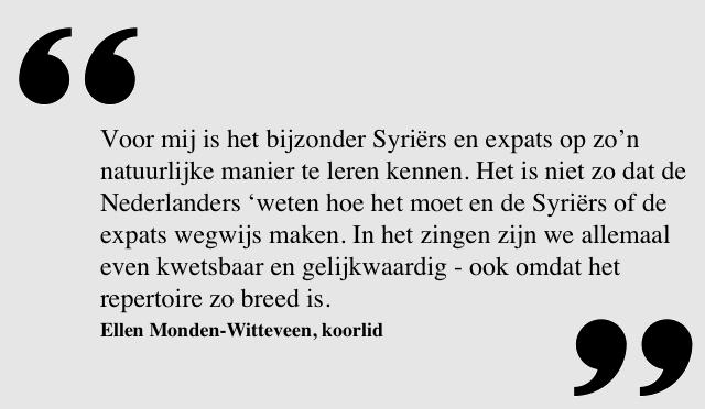Quote van Ellen-Monden Witteveen, koorlid uit Amsterdam